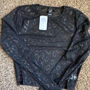 NWT women's Windsor black sheer crop top